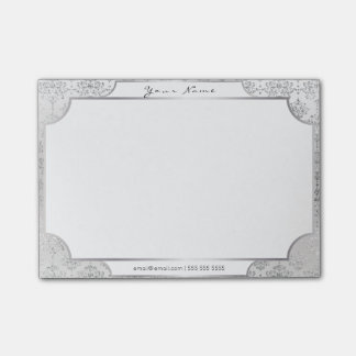 Damask Royal White Silver Gray Frame Post It Post-it Notes