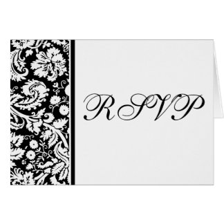 Damask RSVP Notecard Template - Choose your colors