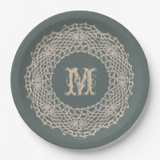 Damask Sage Green Tone on Tone Crochet Paper Plate