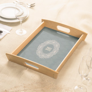 Damask Sage Green Tone on Tone Crochet Serving Tray