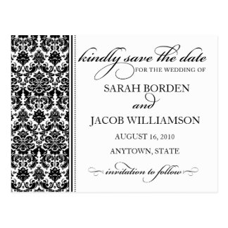Damask Save the Date Card- Customize it Post Cards