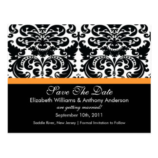 Damask Save The Date Orange POSTCARD! Postcard