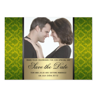 Damask Save the Date Photo 13 Cm X 18 Cm Invitation Card