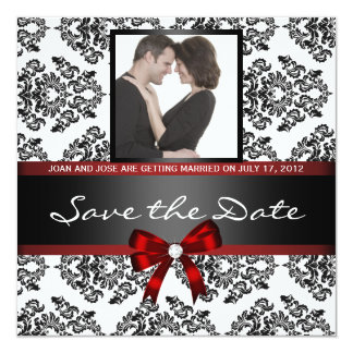 """Damask Save the Date Photo 5.25"""" Square Invitation Card"""