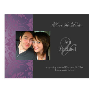 Damask Save the Date Photo postcards, Postcard