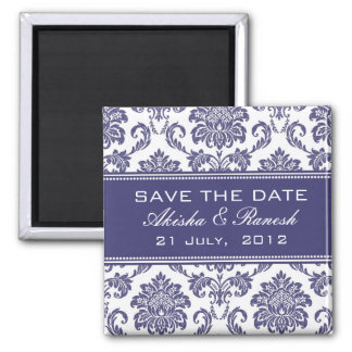 Damask Save the Date Wedding Announcement Refrigerator Magnet