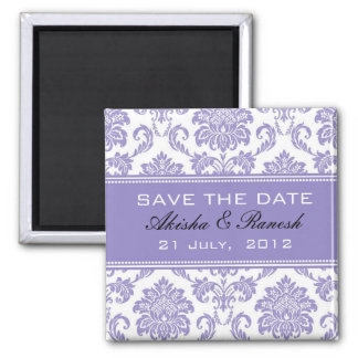 Damask Save the Date Wedding Announcement Square Magnet