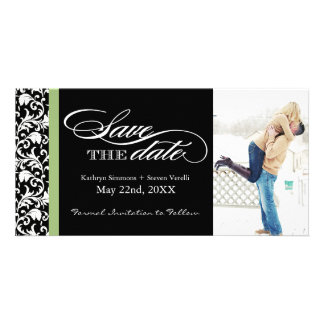 Damask  Save The Date with Green Accent Colour Personalised Photo Card