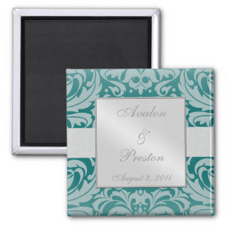 Damask Scroll Ribbon Teal Save The Date Magnet