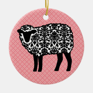 Damask Sheep Christmas Ornament