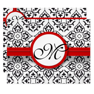 Damask Side Borders Red Trim Wedding RSVP 11 Cm X 14 Cm Invitation Card
