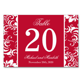 Damask Sides Table Numbers (Burgandy Red / White) Table Card