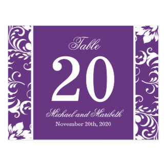 Damask Sides Table Numbers Purple White Post Cards