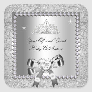 Damask Silver Diamonds Tiara Bow Heart Images Square Sticker