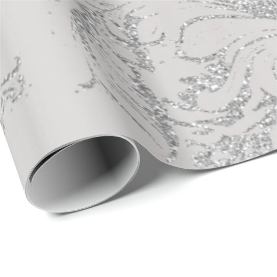Damask Silver Grey Royal Metal Antonietta Cottage Wrapping Paper