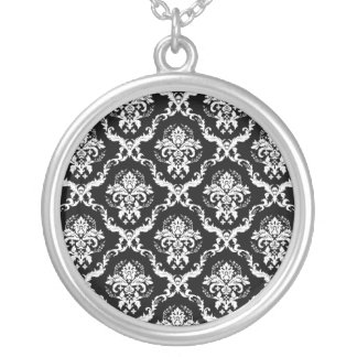 Damask silver pendant. Black and white. Free chain Silver Plated Necklace