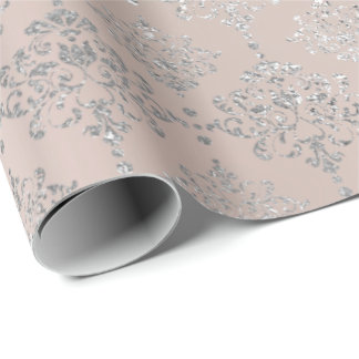 Damask Silver Pink Rose Pastel Brush Faux Gray Wrapping Paper