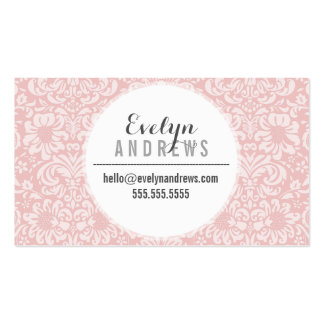 DAMASK SIMPLE SPOT pattern cool pale pink gray Double-Sided Standard Business Cards (Pack Of 100)