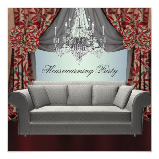 Damask Sofa Chandelier Housewarming Party Card