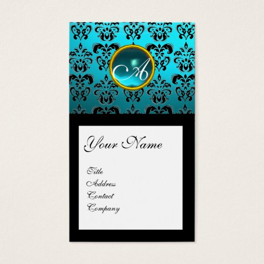 DAMASK SQUARE MONOGRAM,blue turquase aquamarine Business Card