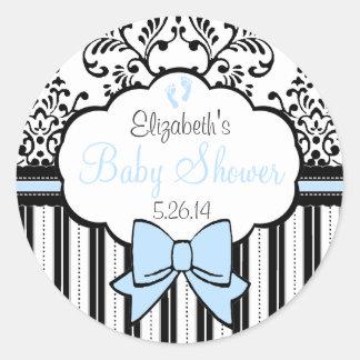 Damask Stripes Blue Bow Baby Shower Round Sticker