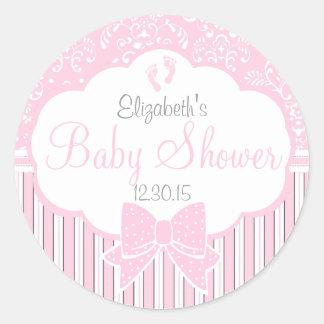 Damask, Stripes Footprints Pink Baby Shower Round Sticker