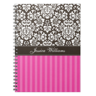 Damask & Stripes Spiral Note Books