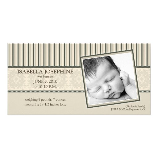 Damask & Stripes Taupe Birth Announcement Customized Photo Card