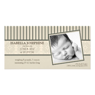 Damask & Stripes Taupe Birth Announcement Photo Greeting Card