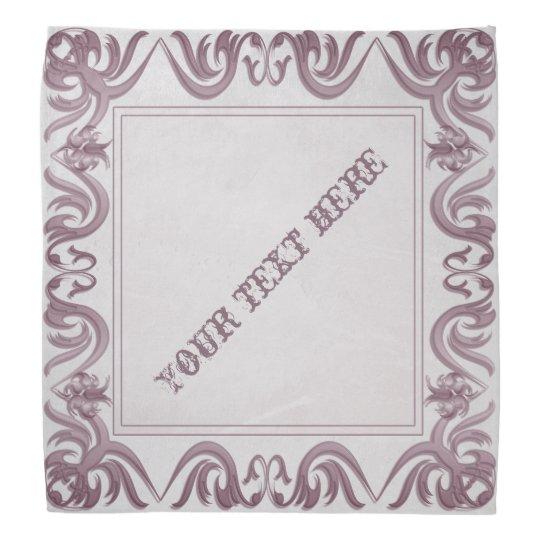 damask style frame on grunge background.text. bandana