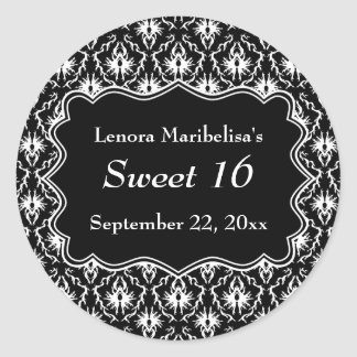 Damask Sweet 16 in Black and White. Round Sticker