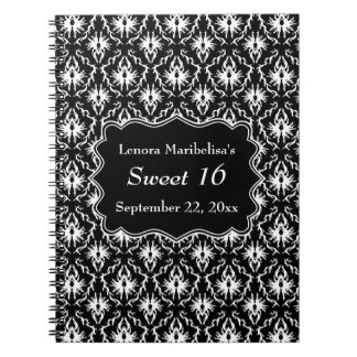 Damask Sweet 16 in Black and White. Spiral Notebook