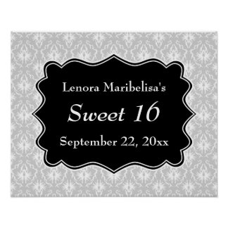 Damask Sweet 16 in Pale Gray, Black and White. Posters