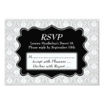 Damask Sweet 16 in Pale Grey, Black and White. Personalised Announcement