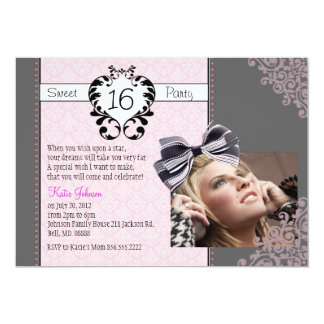 Damask Sweet 16 Invitation with Picture
