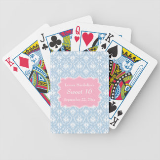 Damask Sweet 16 Pastel Pink and Blue Bicycle Playing Cards