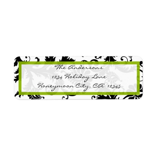 Damask Swirl Apple Green & Black Address Label