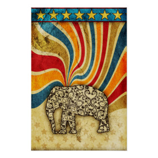 Damask Swirl Star Elephant Grunge Print