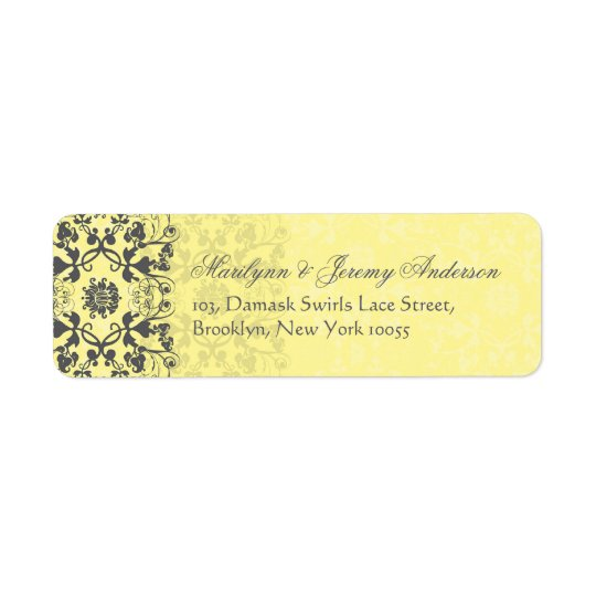 Damask Swirls Lace Butter Custom Label Return Address Label
