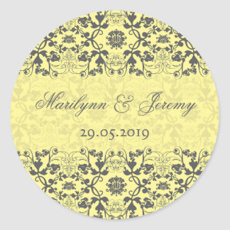 Damask Swirls Lace Butter Gift Favor Label Sticker