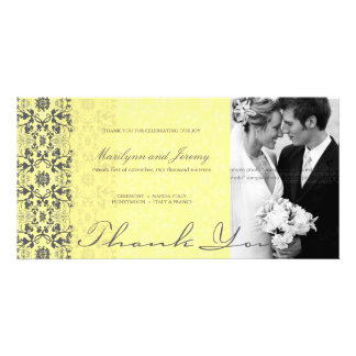Damask Swirls Lace Butter Thank You Photo Card