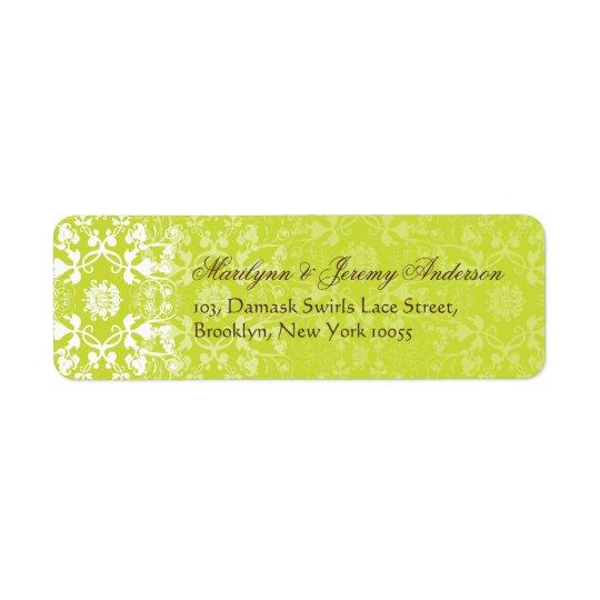 Damask Swirls Lace Lime Custom Label
