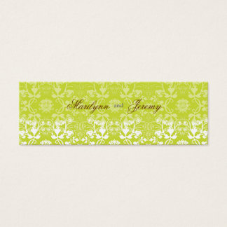 Damask Swirls Lace Lime Custom Thank You Gift Tag Mini Business Card