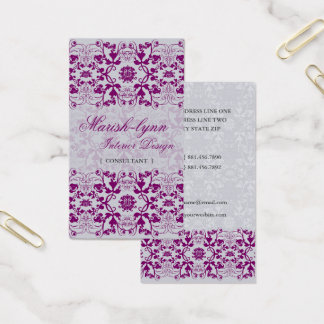Damask Swirls Lace Orchid Custom Profile Card