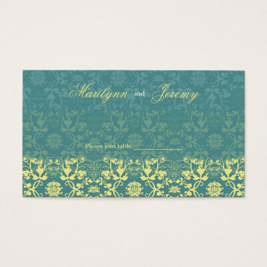 Damask Swirls Lace Peacock Custom Table/Place Card