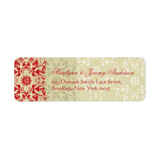 Damask Swirls Lace Spice Custom Label Return Address Label