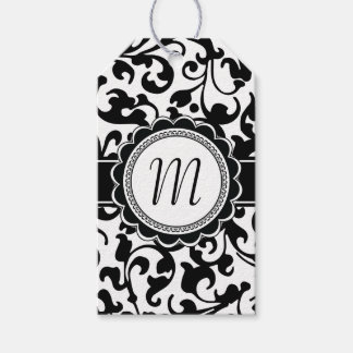 Damask Swirls Monogram Wedding Favor Gift Tags