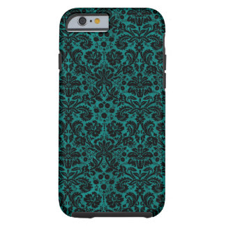 Damask Teal Black Tough iPhone 6 Case