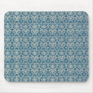 Damask Teal Blue Pattern Mouse Mat