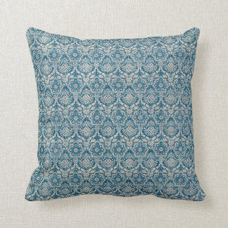 Damask Teal Blue Pattern Throw Pillow